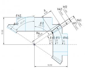 グリーソン式スパイラルベベルギヤの寸法